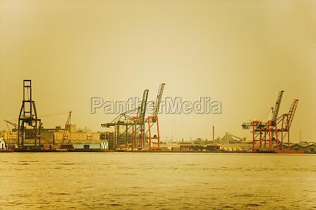 cranes at a commercial dock