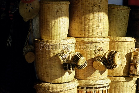 stack of wicker baskets