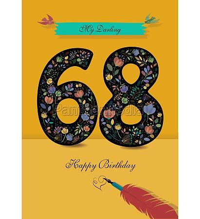 floral number 68 birthday card inkpen