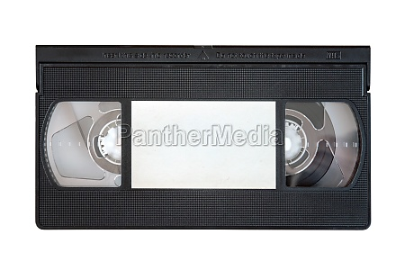 outdated vhs tape on a white