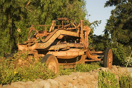 ruined frame of a land vehicle