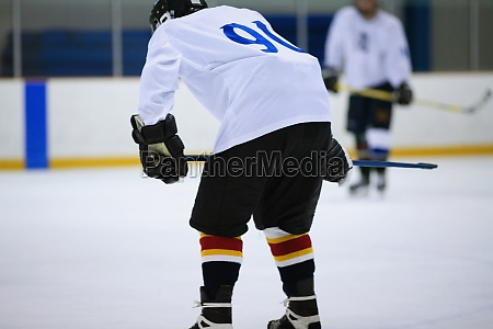 rear view of an ice hockey