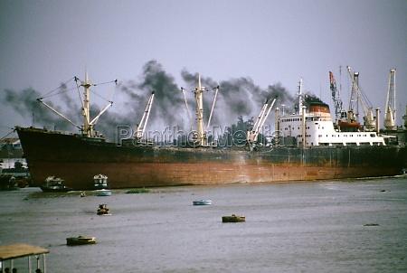 smoking freighter saigon river vietnam