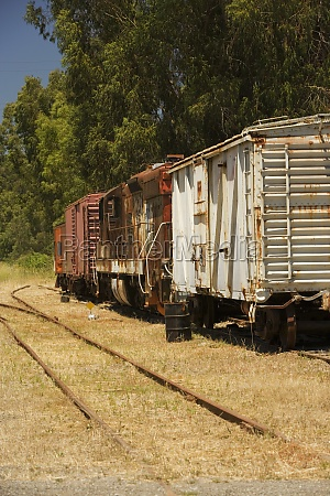 abandoned freight train on railroad track