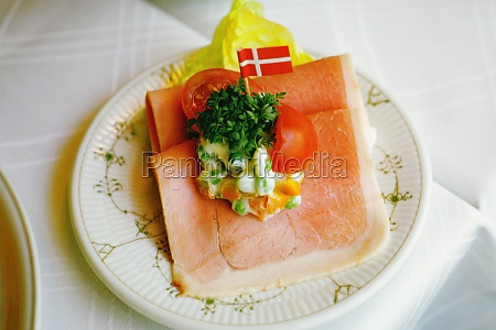 high angle view of a sandwich
