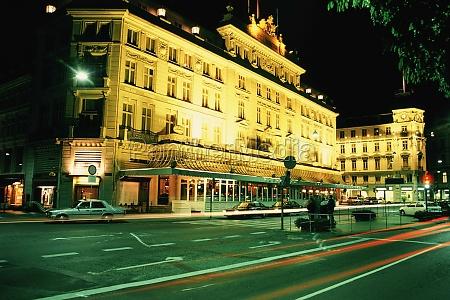 hotel lit up at night hotel