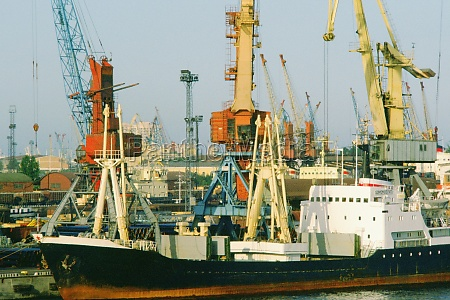 container ships and cranes at the