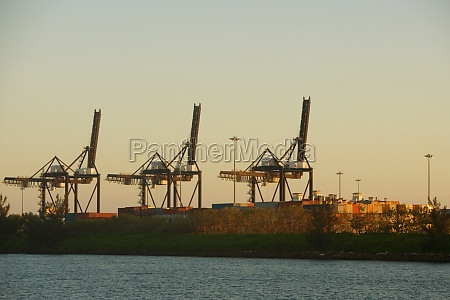 crane and cargo containers at a