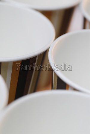 closeup of disposable cups