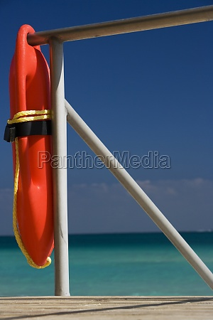 life belt hanging on the beach