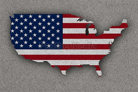 map and flag of usa on
