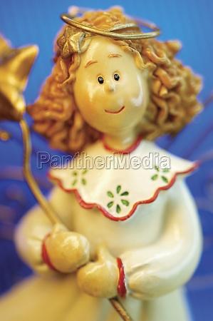 close up of an angel figurine