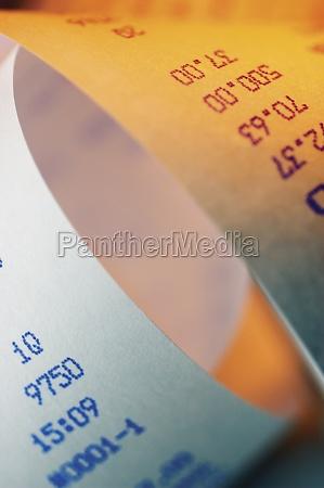 close up of a receipt scroll