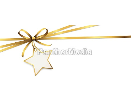 gold ribbon bow with christmas star