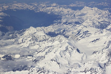alps aerial view from window