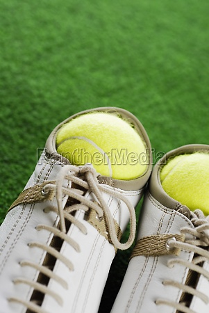 close up of two tennis balls