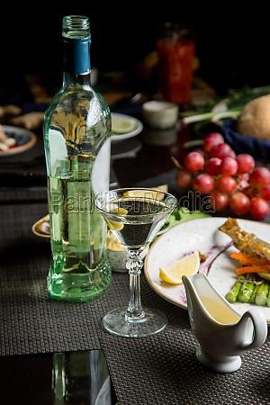 glass of semi dry white wine