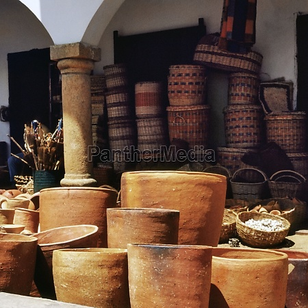 clay pots and wicker baskets for