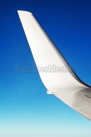 close up of an airplane wing