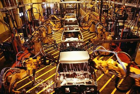 high angle view of robots at
