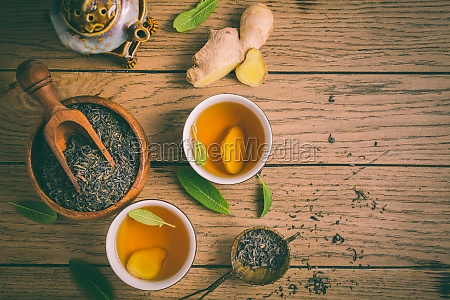 ginger tea with sage leaves and