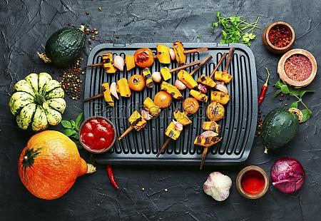 grilled vegetable shish kebab