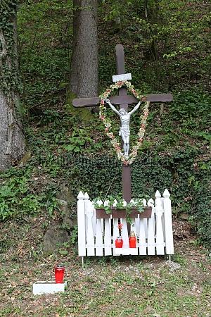 roadside crucifix in zagorje region croatia