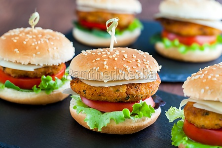 appetizing mini chicken burgers