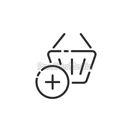 shopping basket thin line icon add