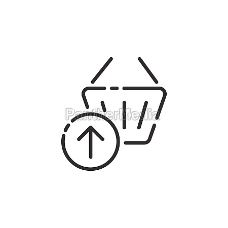 shopping basket thin line icon up