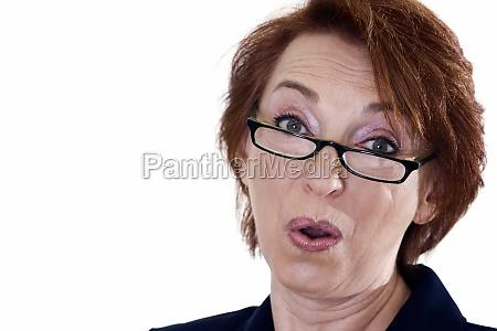 portrait of a businesswoman puckering her