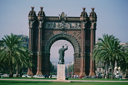 statue in a park barcelona catalonia