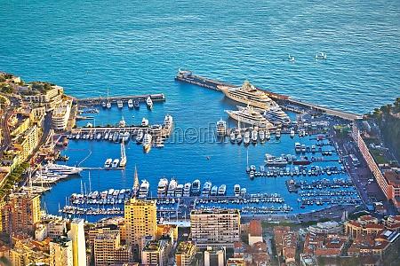 monte carlo luxury yacht harbor aerial