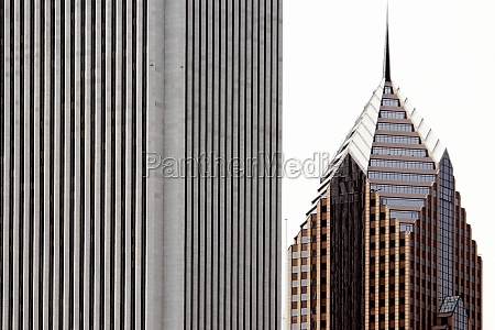 close up of two buildings in