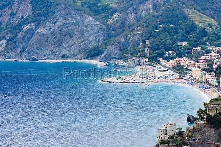 buildings on the coast ligurian sea