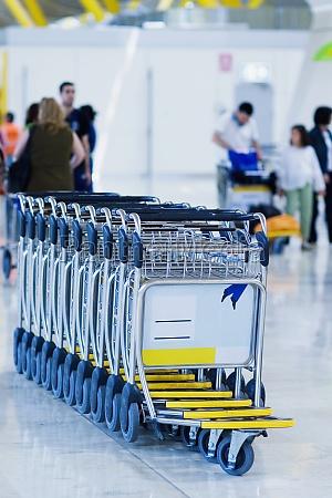 close up of luggage carts at