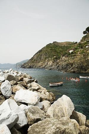 rocks at seaside cinque terre national