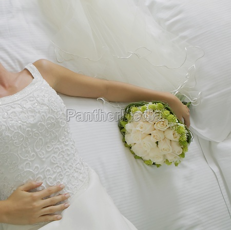 mid section view of a bride