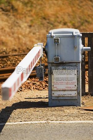 railroad crossing along a railroad track