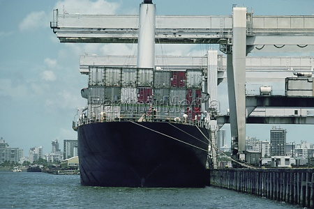 large container ship at port puerto