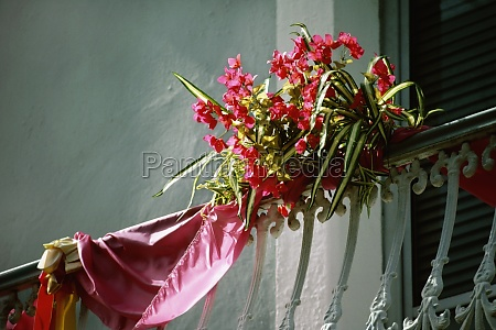 a bouquet of flowers tied to