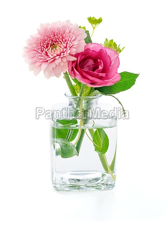 flowers in a glass vase on