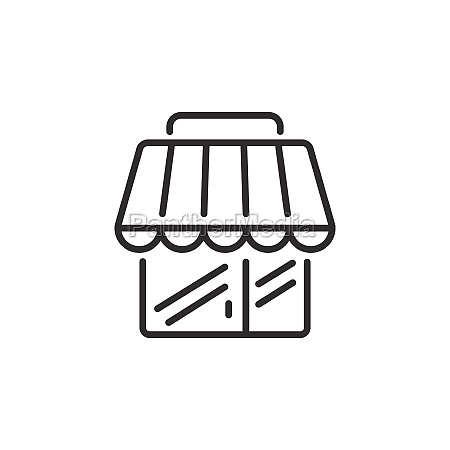 shop building thin line icon simple