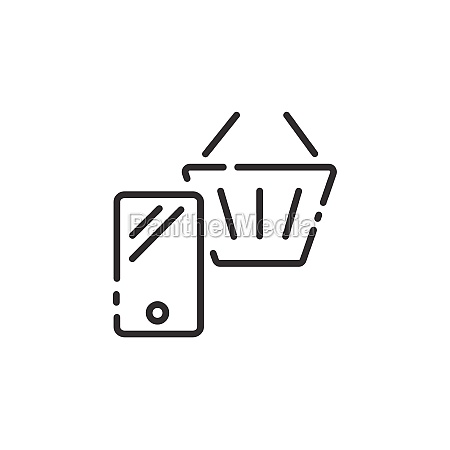 online store thin line icon mobile