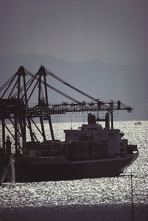 silhouette of a industrial ship in