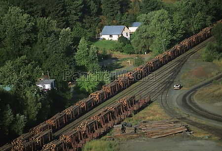 aerial of a trainload of sawmill