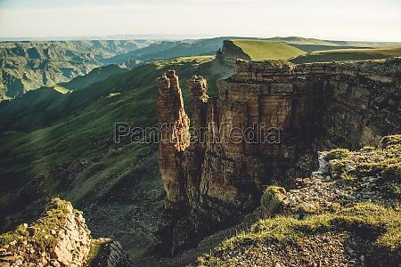 western caucasus at dawn in the