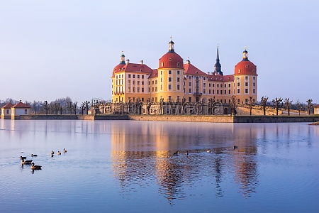 moritzburg castle after sunrise at winter