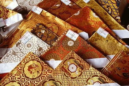 high angle view of brocade textiles