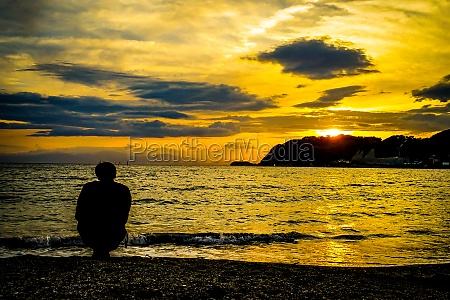 zushi coast and sunset scenes